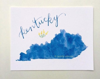 Kentucky state art print watercolor hand lettering wall art