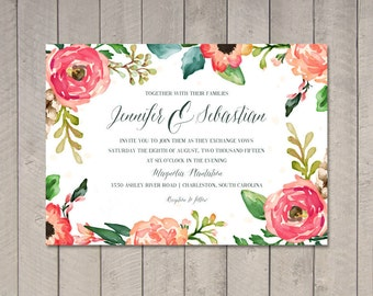 Watercolor Wedding Invitation (Printable) DIY by Vintage Sweet