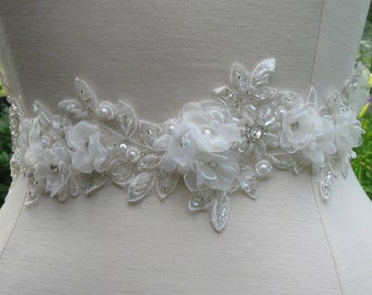 Handmade Floral Wedding Belt, Crystal Bridal Belt, Lace Wedding Sash-CUSTOM ORDER