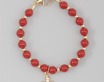 Infant, Baby Christening Bracelet, Toddler, Child , Communion gold filled with red coral gem  pearls (BGRC)