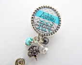 RN Badge Reel Personalized Turquoise Blue Grey and Chevron Print Id, Nicu, Lpn, Lmt, Lvn, Jewelry, Necklace, Holder Pull ID, Medical Nurse