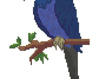 Macaw Parrot, Counted Cross Stitch Pattern - Bird Cross Stitch Kit, DMC Materials