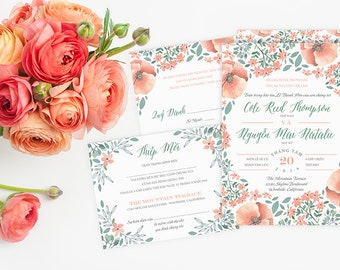 printable bilingual vietnamese wedding invitation set, invitation samples