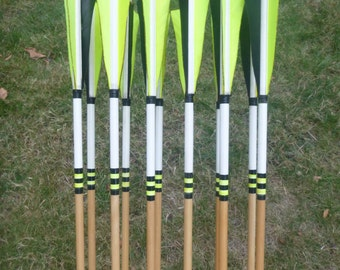 Yellow and Black Arrows, 40-45 lb, dozen(12) arrow set, traditional wood archery arrows