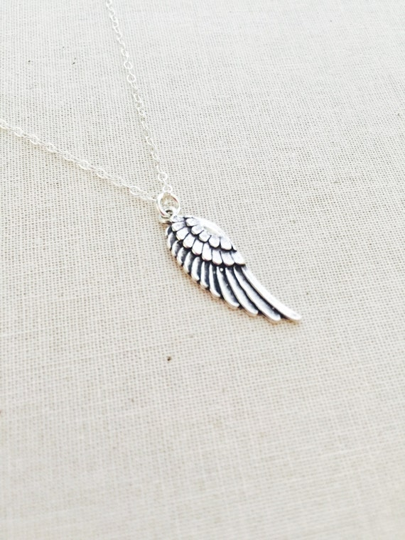 Sterling Silver Angel Wing Necklace- Sterling Silver Necklace- Angel Wing Charm Necklace, Birthday Gift, Charm Necklace