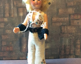Vintage 7 Inch Doll Wearing Crocheted Cowgirl Outfit with Chaps and Hat, Hard Plastic Doll Crazy Eyed Doll