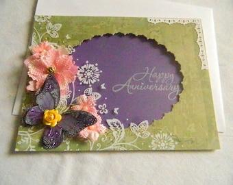 Happy Anniversary card green purple butterfly