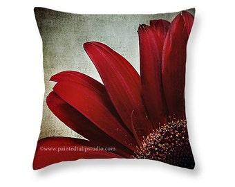 Square Pillow Home Decor Crimson Red Romantic Mum Floral Flower Chrysanthemum Macro Dramatic Dark Elegant Rich Colors