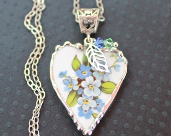 Necklace, Broken China Jewelry, Broken China Necklace, Heart Pendant, Forget Me Not China, Sterling Silver Chain, Soldered Jewelry