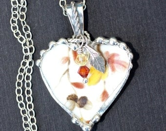 Necklace, Broken China Jewelry, Broken China Necklace, Heart Pendant, Fall Leaves, Sterling Silver, Soldered Jewelry