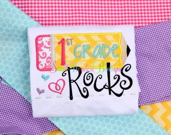 1st Grade Rocks Shirt - Back To School Embroidered Shirt - School Shirt - Back To School - School Shirt - First Day Of School Shirt - School