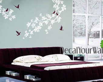 Wall Decal Cherry Blossom Tree Nursery Kids Branch Flower Decals Birds Bedroom Living room Kitchen Art Decor Mural Removable Vinyl Stickers