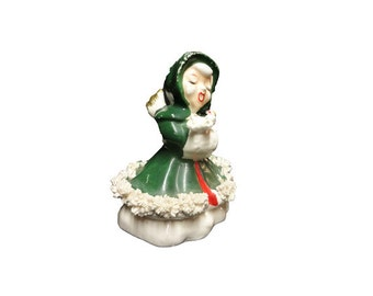Vintage Christmas Angel - Vintage Singing Angel Figurine, Mid Century Xmas, Porcelain Japan Christmas Bell, Christmas Caroler, Holiday Decor