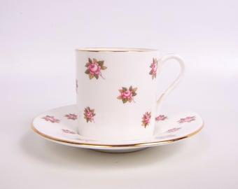 Vintage Aynsley Teacup Saucer England The Danbury Mint Fine Bone China Demitasse Pink Rose Design