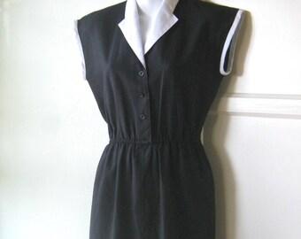 Chic, Uniform-Style Vintage Black Linen Dress with White Collar by Jonathan Logan - 1970s Vintage Minimalist, Midi-Length Black Career Dress
