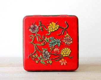 Vintage cottage chic metal box / floral home decor / upcycled storage box / desk organizer / rustic home decor / boho eclectic home decor