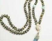 Mala Style Prayer Bead Necklace Dalmation Jasper Tiny Glass Beads Blue Aura Quartz Point Healing Jewelry Natural Stones Boho