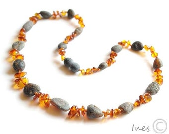 Raw Unpolished Black and Polished Red Baltic Amber Necklace