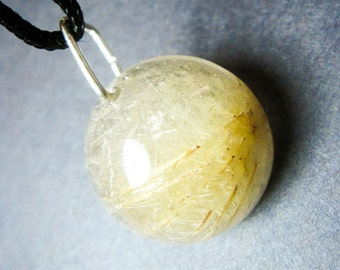 Golden Rutilated quartz necklace / Golden Rutilated quartz Pendant / healing crystals and stones / Crystal Necklace / Gems Crystal pendant