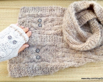 Knit Owl Scarf and Mittens Winter Beige Scarf Girl's Woman's Neckwarmer Christmas Gift for Her