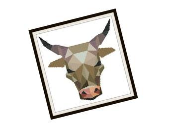 Bull Cross Stitch Pattern - Modern Cross Stitch Pattern - Origami Animal Cross Stitch Pattern - Geometric Animal Cross Stitch