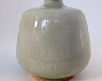 Vintage 90's Thai Bann Celadon small  flower vase