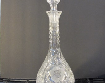 Vintage 80's pressed glass wine liquor decanter