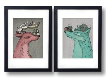 deer and wolf art print 8.5 by 11, wall art, children's room print, folk art print