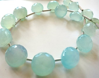 """Peru Blue Chalcedony Faceted 7-9mm Onion - 6.5"""" Strand"""