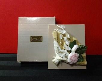 1991 Avon Pink Rose Floral Fan Pin