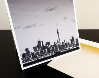 "Blank greeting cards - Toronto skyline, note card, travel card, birthday card, photo card, square card, black and white card (5.25"" square)"