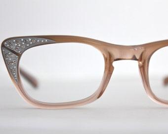 Vintage 60's Rhinestone Fawn Cat Eye Eyeglasses
