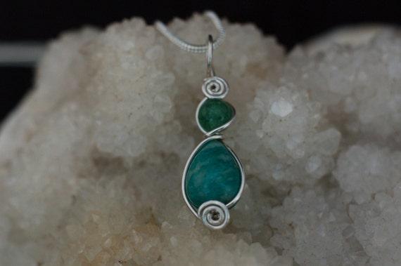 Green Aventurine and Amazonite Pendant / Small Gemstone Necklace / Wire Wrap Jewelry / Green and Blue Stone Neckace / Artisan Jewelry