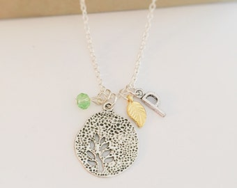 Personalized Leaf Necklace with Your Initial and Birthstone