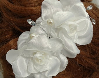 White Gardenia, Gardenia Hair Comb, Bridal Hair Comb, Bridal Hair Accessory