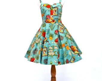 50's/60's Vintage Fit and Flare Dress, 50's Retro Dress, Viva Mexico Dress