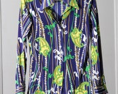Beautiful Vivid Colorful 70s Patterned Button Up Shirt