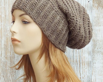 Crochet Slouchy Beanie - Womens Crochet Slouch Hat - Beehive Slouch Hat - Winter Ribbed Baggy Beanie // THE LEIGHTON // Taupe Brown Tweed