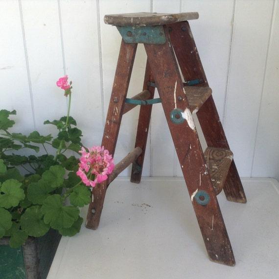 Vintage Step Ladder Three Step Small Wooden Folding Step Stool