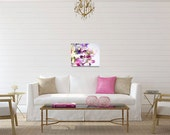 Flower Photography - Sweet Pea Photo - Sweet Peas - Whimsical - Washington - Minimalist - Wrapped Canvas - Purple Pink White Home Decor