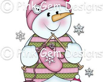 Digi Stamp 'Chilly Knitting' Snowman.Makes Cute Christmas Cards
