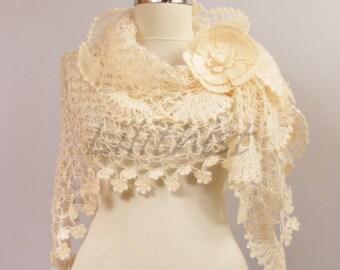 Ivory Crochet Shawl, Shawlette, Bridal Shawl Wrap, Crochet Triangle Scarf, Lace Shawl, Bridal Cover Up, Flower Shawl, Wedding Cape
