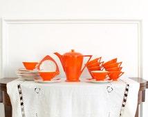 Excellent Vintage Atomic Salem Tricorne & Streamline Service Set of 6 Including Coffee Pot / Creamer and Sugar Bowl - Art Deco