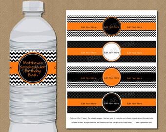 Halloween Birthday Water Bottle Labels - EDITABLE Printable Water Wrappers - Orange Black Birthday Party Decor - Boy Birthday, Halloween