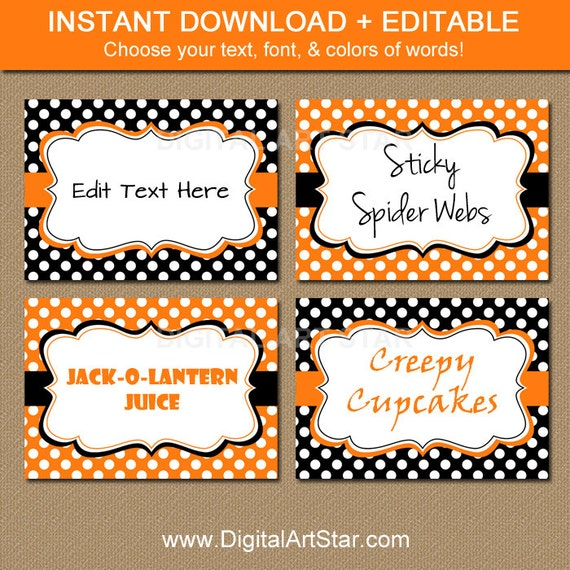 EDITABLE Halloween Buffet Cards Printable Labels By