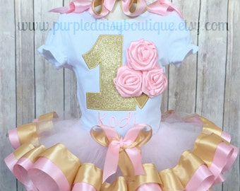First Birthday Rosette Ice Cream Cone Pink and Gold Theme Ribbon Trim Birthday Outfit