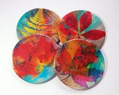 Leaf Coasters, Fall Colors, Wine Coasters, Drink Coasters, Thanksgiving Coasters, Coasters, Hostess Gift, Gift for Hostess, Nature (5163)