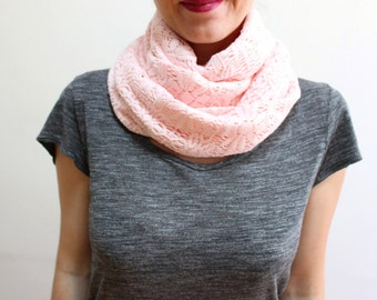 Cotton Soft Pink Infinity Scarf Loop Scarf Knitting Winter Scarf Ascot Neck Warmer Thick Warm Scarf Circle Scarf Women's Fashion Accessories