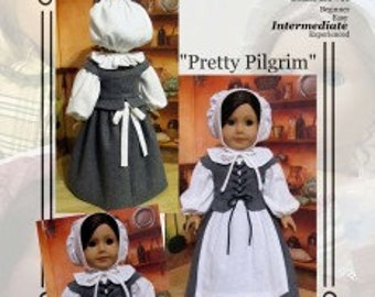 "PDF Pattern KDD06 ""Pretty Pilgrim"" -An Original KeepersDollyDuds Design, 18"" Doll Clothes Fits American Girl"