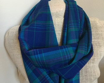 Plaid Infinity Blue Scarf - Green, Pink, Blue Cotton Fall Scarf